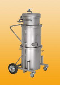 Druckluftsauger XG 35 komplett aus V2A mit fahrbarem Staubbehälter