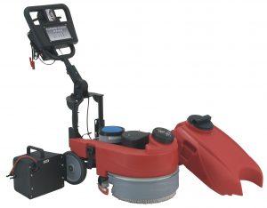 Professionelle handgeführte Scheuersaugmaschine Minispeed 360B, halbautomatisches Getriebe mit Gelbatterien und Ladegerät